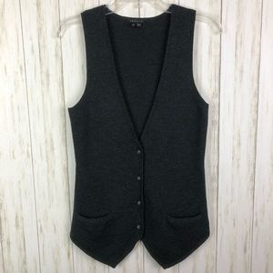 Theory Gray Button Vest Pockets